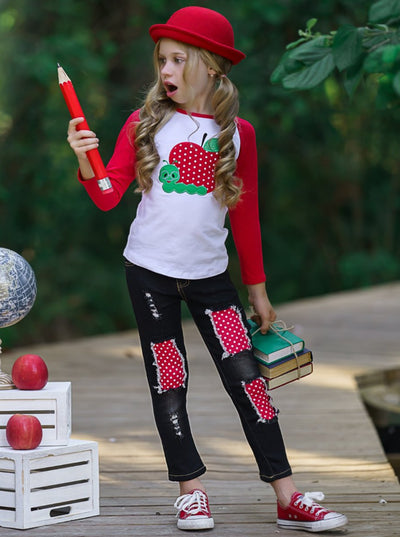 Girls raglan features red long sleeves and an apple applique and black distressed patched jeans