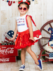 Girls 4th of July Themed Graphic Tank & Bow Sequin Skirt Set - Red / XS-2T - Girls 4th of July Set
