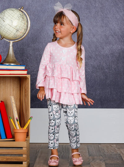 Girls Faux Button Tiered Ruffled Tunic & Printed Leggings Set