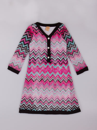 Girls Pink Chevron Print Sweater Dress