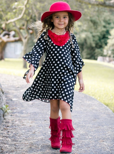 Girls Black/White Dotted Bell Sleeve A-Line Dress