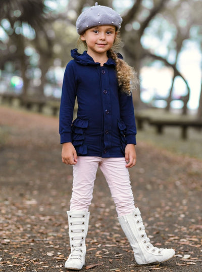 Girls Navy Ruffled Button Down Cardigan with Hood - Girls Sweater