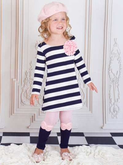 Girls Navy White Stripe Tunic & Contrast Leggings Set