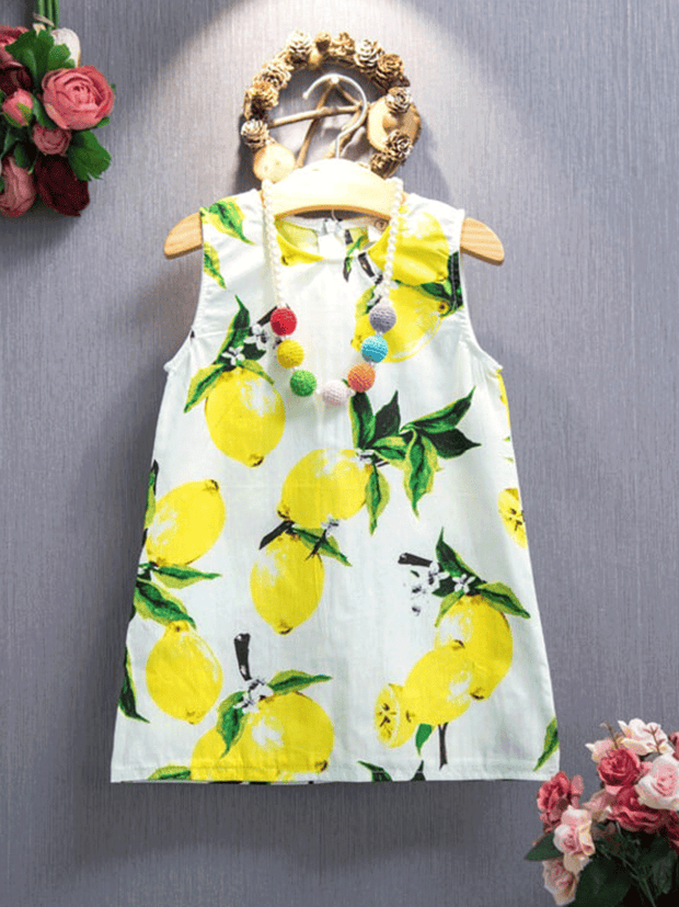 Girls White Lemon Printed Sleeveless Tunic Dress JAN17CNALDR17WL