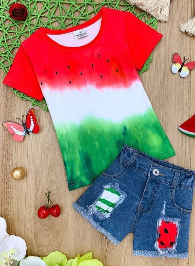 Girls Watermelon Top and Patched Denim Shorts Set
