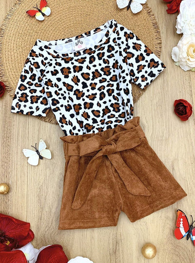 Girls Leopard Top and High Waist Belted Shorts Set