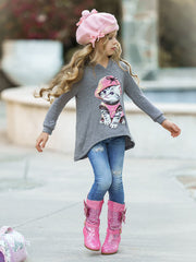 Girls Sequin Applique Hi-Lo Hoodie Sweater