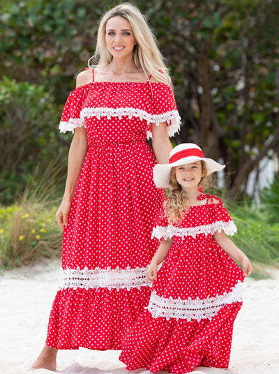 red polka dot maxi dress features a large bib and crochet details Pullover style
