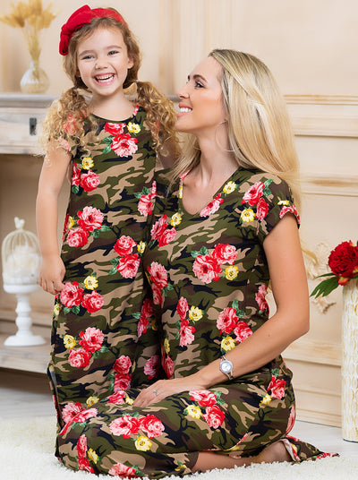 Girls floral camo maxi dress with convenient and stylish pockets