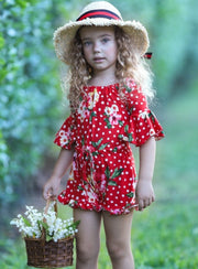 Girls Floral Ruffled Boho Drawstring Romper