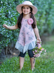 Girls Ruffled Tunic with Flower Clip and Drawstring Capri Leggings Set - Pink / 2T/3T - Girls Spring Casual Set