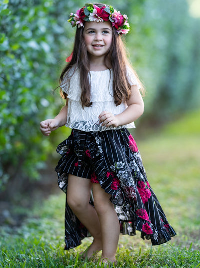 Girls Ruffle Lace Crop Top and Hi-Lo Skirted Shorts Set - Black / 2T/3T - Girls Spring Casual Set
