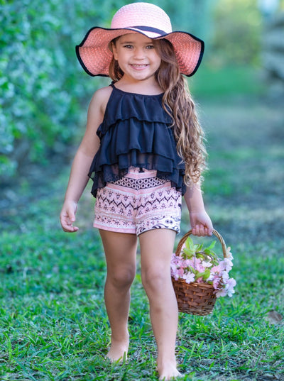 Girls Tiered Crop Top and Cuffed Shorts Set 2t-10Y black