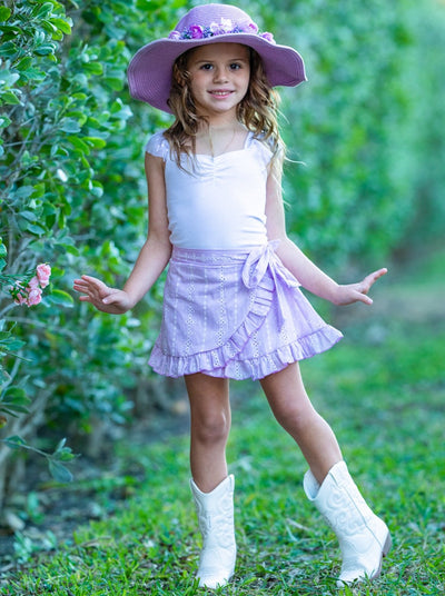 Girls Tulle Sleeve Ruched Top and Ruffled Wrap Skirt Set 2T-10Y pink Spring