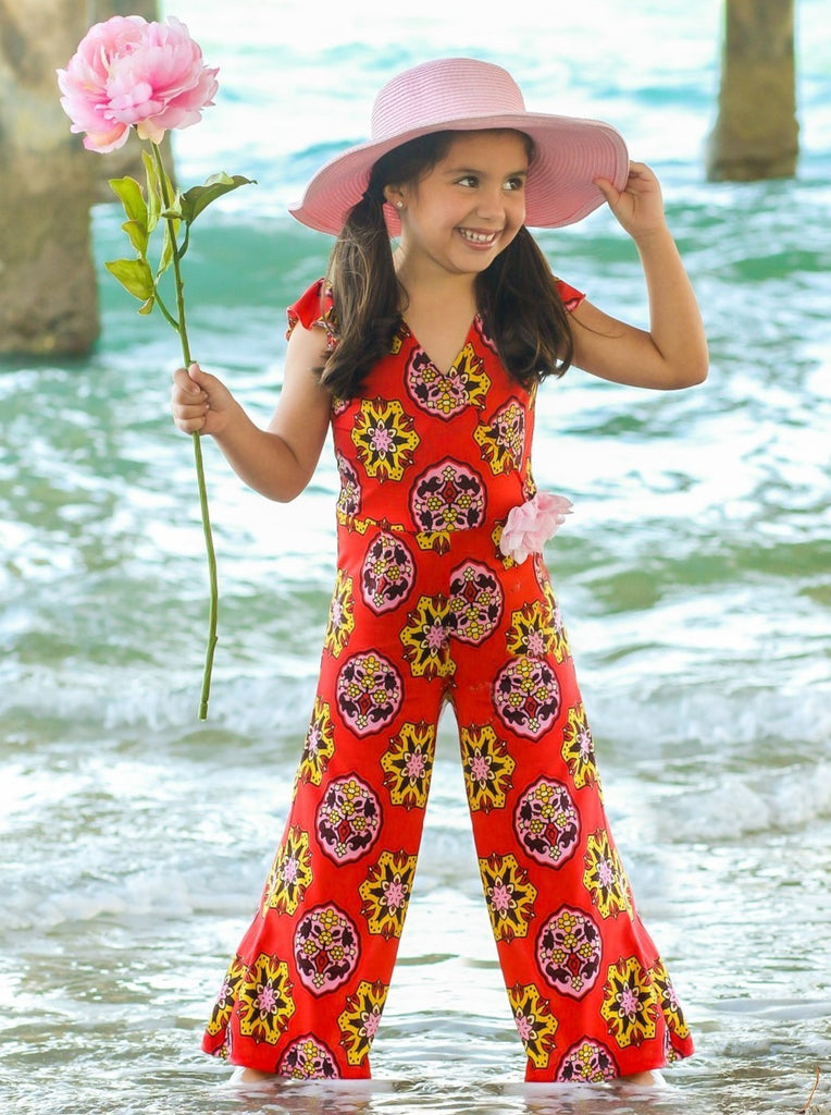 Girls Coral Medallion Print Flutter Sleeve Palazzo Pants Jumpsuit with Pink Flower Clip