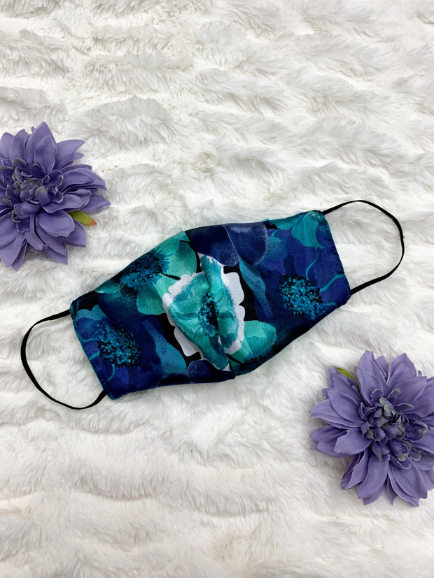 Adults and Kids Blue Teal Floral Reusable/Washable Face Masks with Filter