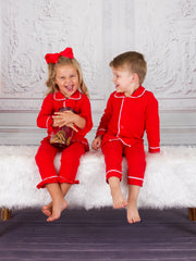 Girls & Boys Red Button Down Collared Classic Christmas Pajama Set