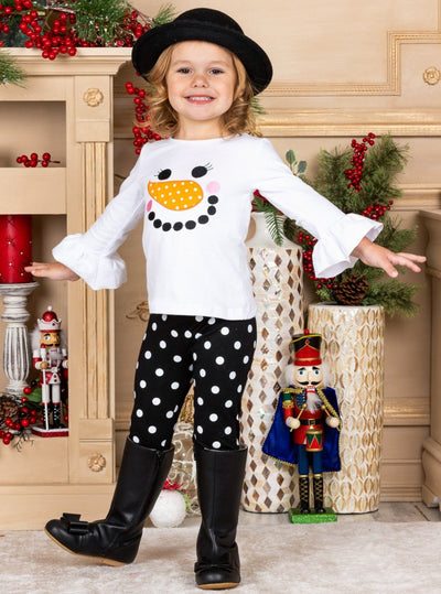 Girls Long Ruffled Sleeve Snowman Top & Ruffled Polka Dot Leggings Set
