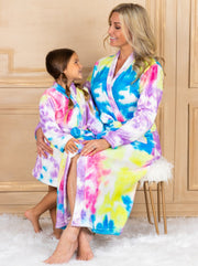 Mommy and Me Plush Tie Dye Bathrobe