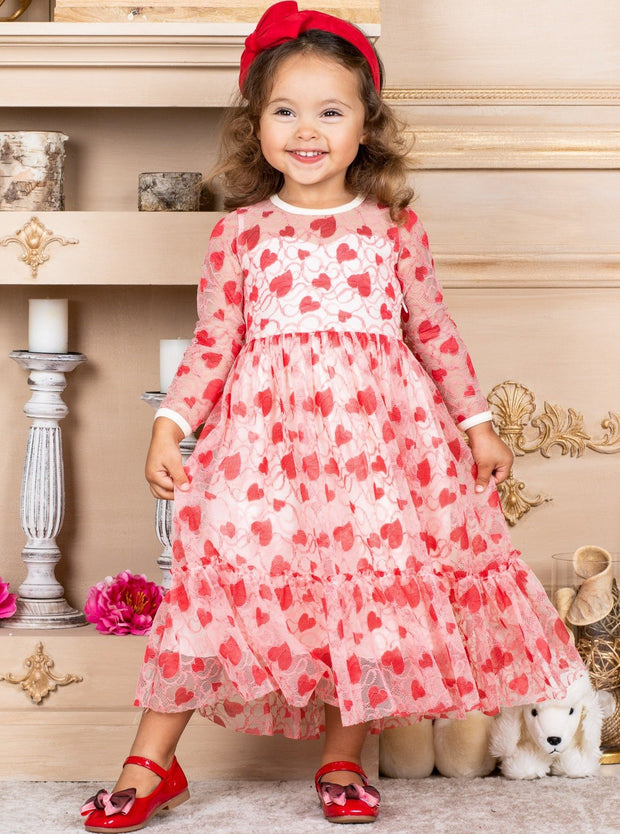Girls Heart Lace Ruffled Dress with Sash 2T-12Y Heart Cream and red