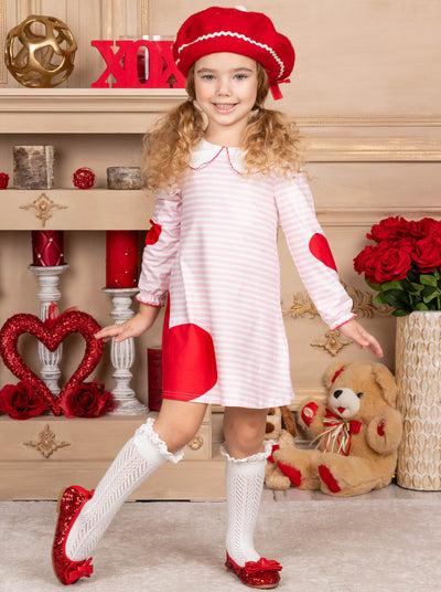 Girls Long Sleeved Striped Heart Print Dress striped white and pink with red Valentine heart 2T-10Y
