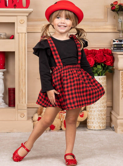 Girls Long Sleeved black Top and black and red Plaid Overall Dress 2T-8Y