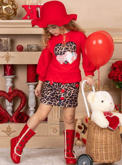 Girls Heart Applique red Sweater and Leopard Print Skirt Set 2T-10Y Valentine