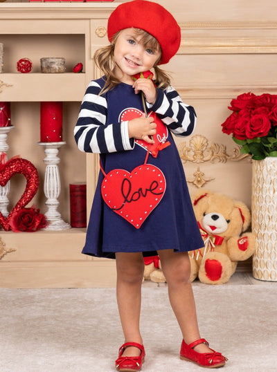 Girls navy dress with striped long sleeves dress with a heart print, and a red love, heart purse Set 2T-10Y