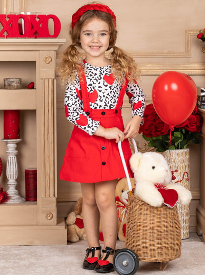 Girls Long Sleeved Animal Print with Hearts Top and Red Overall Dress 2T-10Y Valentine