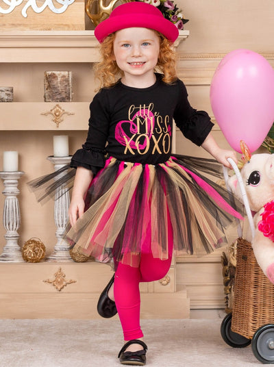 "Girls ""Little Miss XoXo"" Ruffled black Top & multicolor Tutu Skirt Set 2T-10Y"