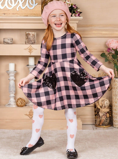 Girls Plaid black and pink Dress with Heart and white and pink Knee Socks Set