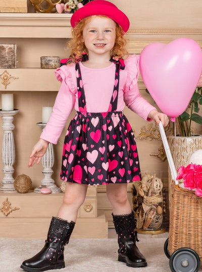 Girls Ruffled Top and Heart Overall Dress with Bows Valentine pink 2T-10Y pink black