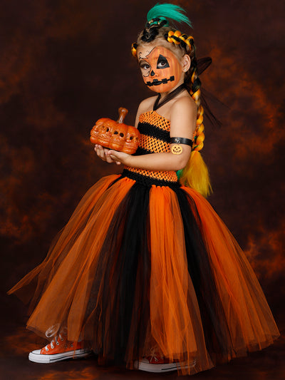Girls Creepy Jackolantern Inspired Costume