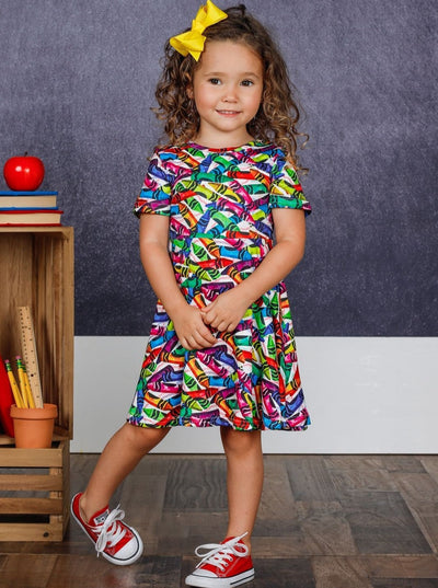 Girls Rainbow Crayon Print Dress