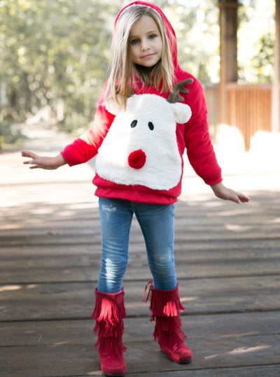 Girls Warm & Cozy Fleece Lined Reindeer Hoodie