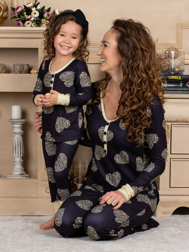 Mommy and Me Golden Heart Button Pajama Set