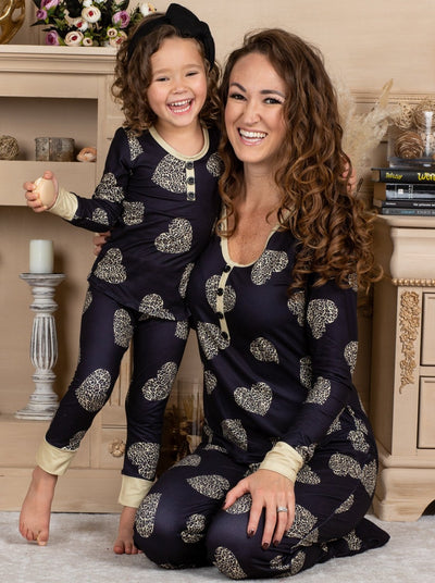 Mommy and Me Valentine's Day Themed Gold Heart Print Button Pajama Set