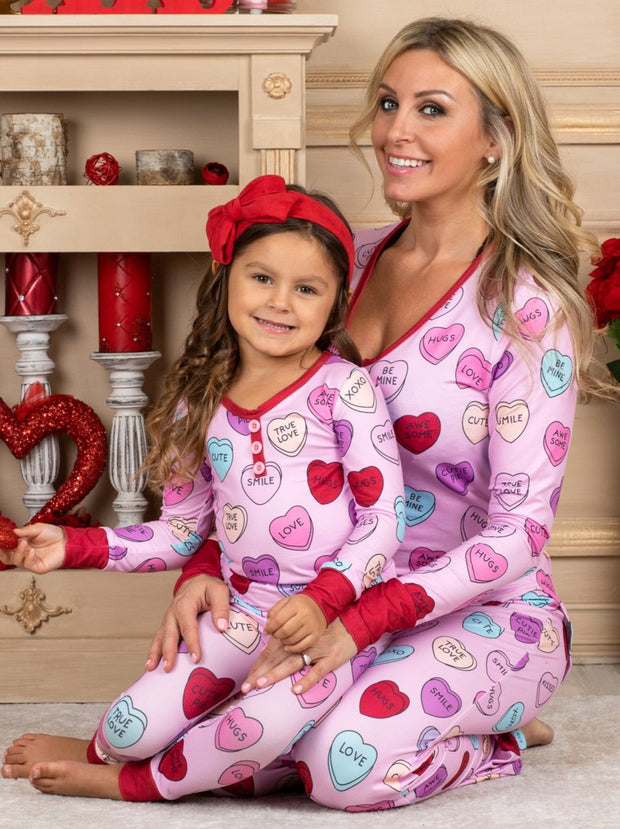 Mommy and Me Sweet Hearts Print Button Pajama Set