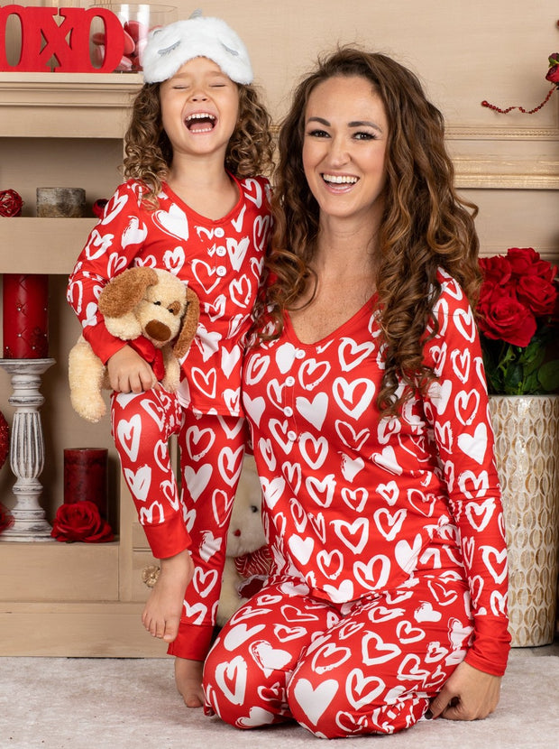 Mommy and Me Valentine's Day Themed Heart Print Button Pajama Set