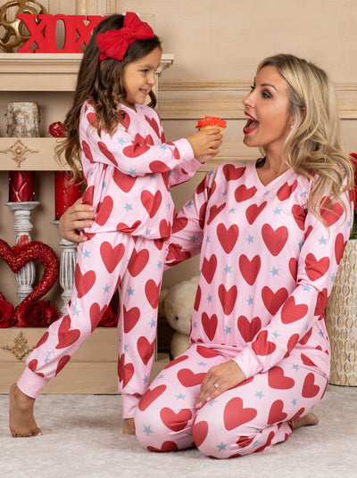 Mommy and Me Valentine's Day Themed Heart Print Button Pajama Set 2T-10Y