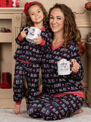 "Mommy and Me Valentine's Day Themed ""XOXO'' Print Button Pajama Set"