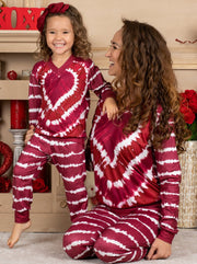 Mommy and Me Striped Tie Dye Heart Loungewear Set 2T-12Y and mom S-XXL