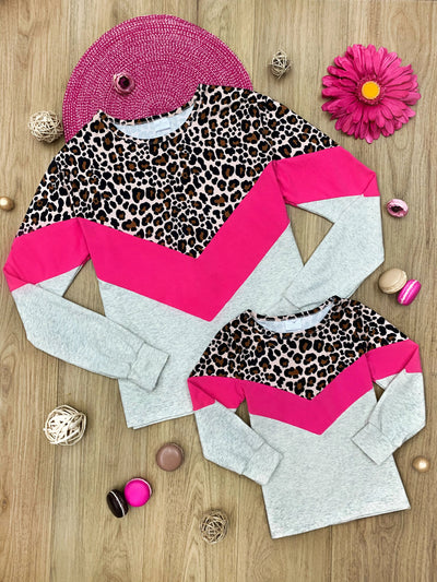Mommy & Me Color block Animal Print Top Spring and Valentine