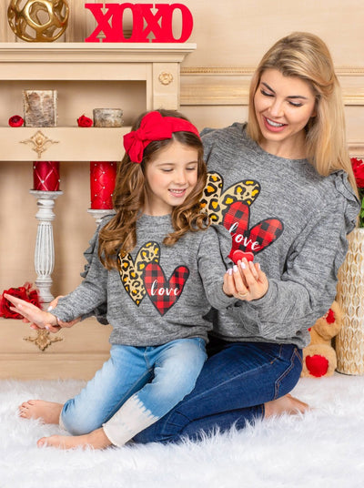 Mommy and Me Ruffled Sleeves Heart Sweater Valentine grey with leopard and plaid hearts 2t-10Y mom S to XXL