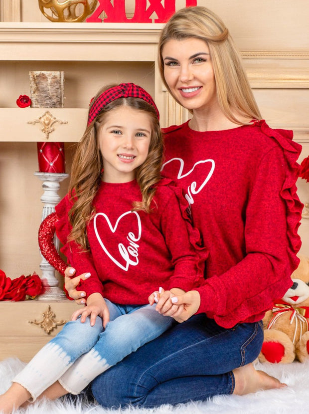 Mommy and Me Ruffled Sleeves Heart Sweater 2T-10Y red with white heart