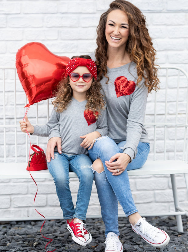 Mommy and Me Top with Sequin Heart 2T-10Y mom S-XXL grey with red