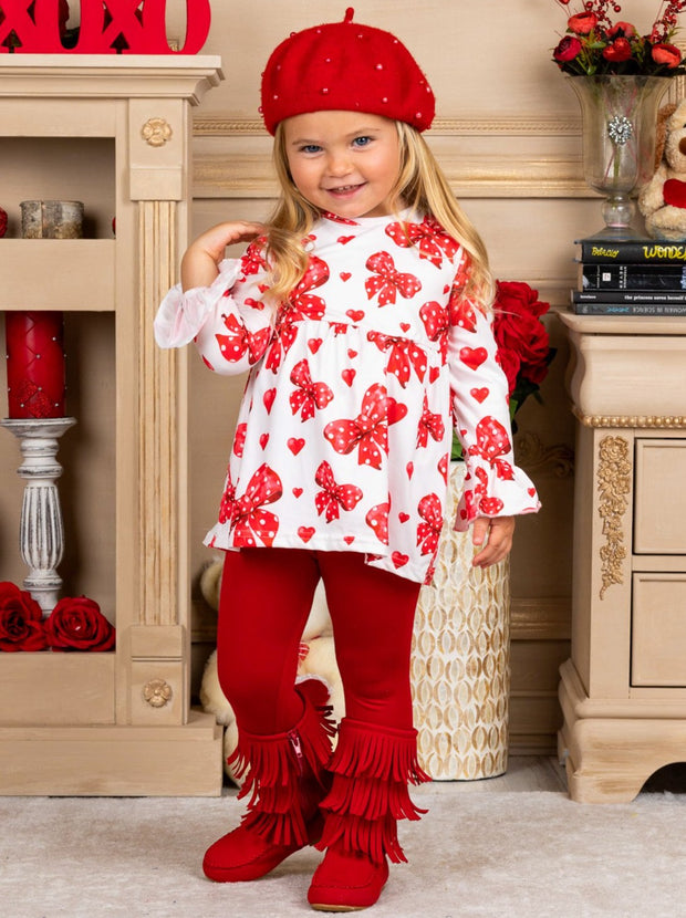 Girls Heart Themed Ruffled Sleeve Tunic and Leggings Set - Girls Fall Casual Set