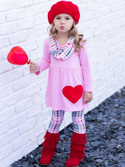 Girls Pink Valentines Day Themed Tunic Plaid Leggings & Scarf Set - Girls Fall Casual SetGirls Pink Valentines Day Themed Tunic Plaid Leggings & Scarf Set - Girls Fall Casual Set
