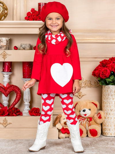 Girls Heart Themed Tunic Heart Print Leggings & Scarf Set - Red / 2T - Girls Fall Casual SetGirls Heart Themed Tunic Heart Print Leggings & Scarf Set - Red / 2T - Girls Fall Casual Set