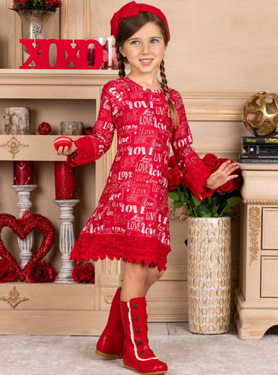 Girls Crochet Sleeves and Hem Dress with Love & Heart Print - Burgundy / 2T/3T - Girls Fall Casual Dress